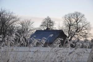 Blick von der Straße zum winterlichen Ferienhaus.